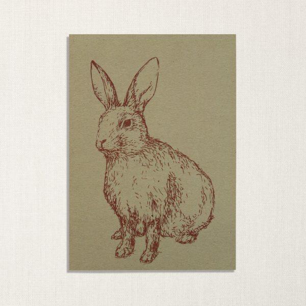 duurzame kaart met konijn op lichtgroene achtergrond
