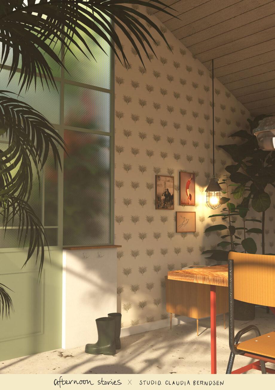 Botanisch olijfboom behang in tuinkamer atelier