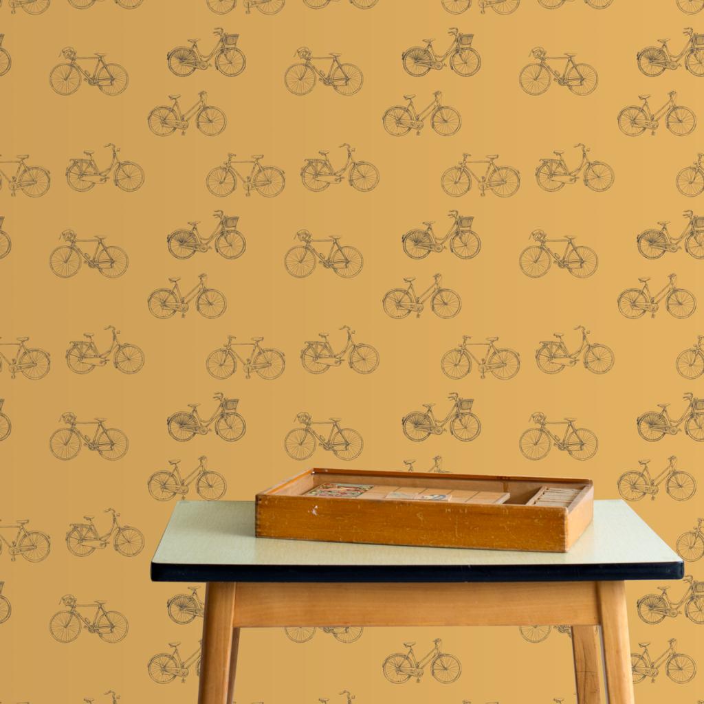 Duurzaam oker geel fietsen behang