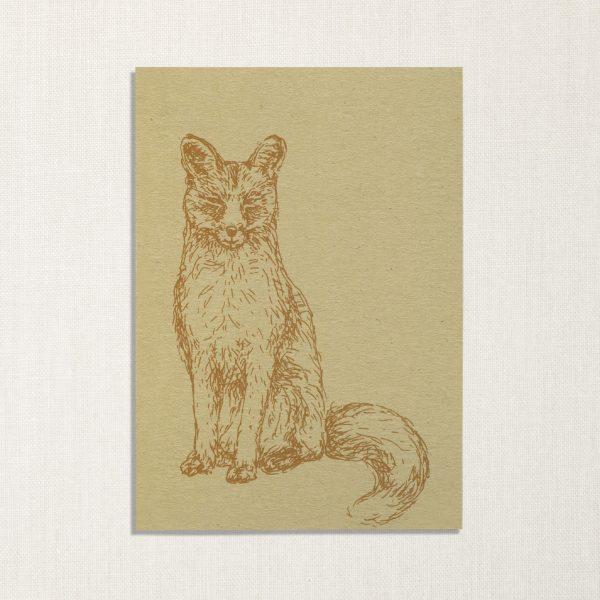 duurzame kaart met vos op lichte achtergrond