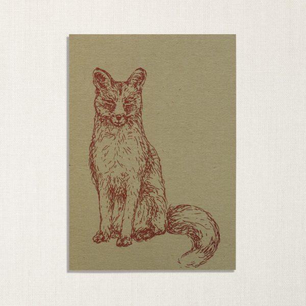 duurzame kaart met vos op lichtgroene achtergrond