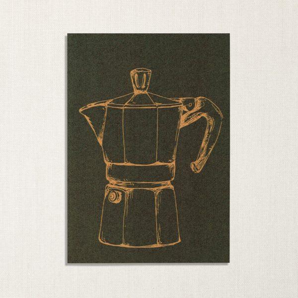 duurzame kaart met moka koffiepotje op donkergroene achtergrond