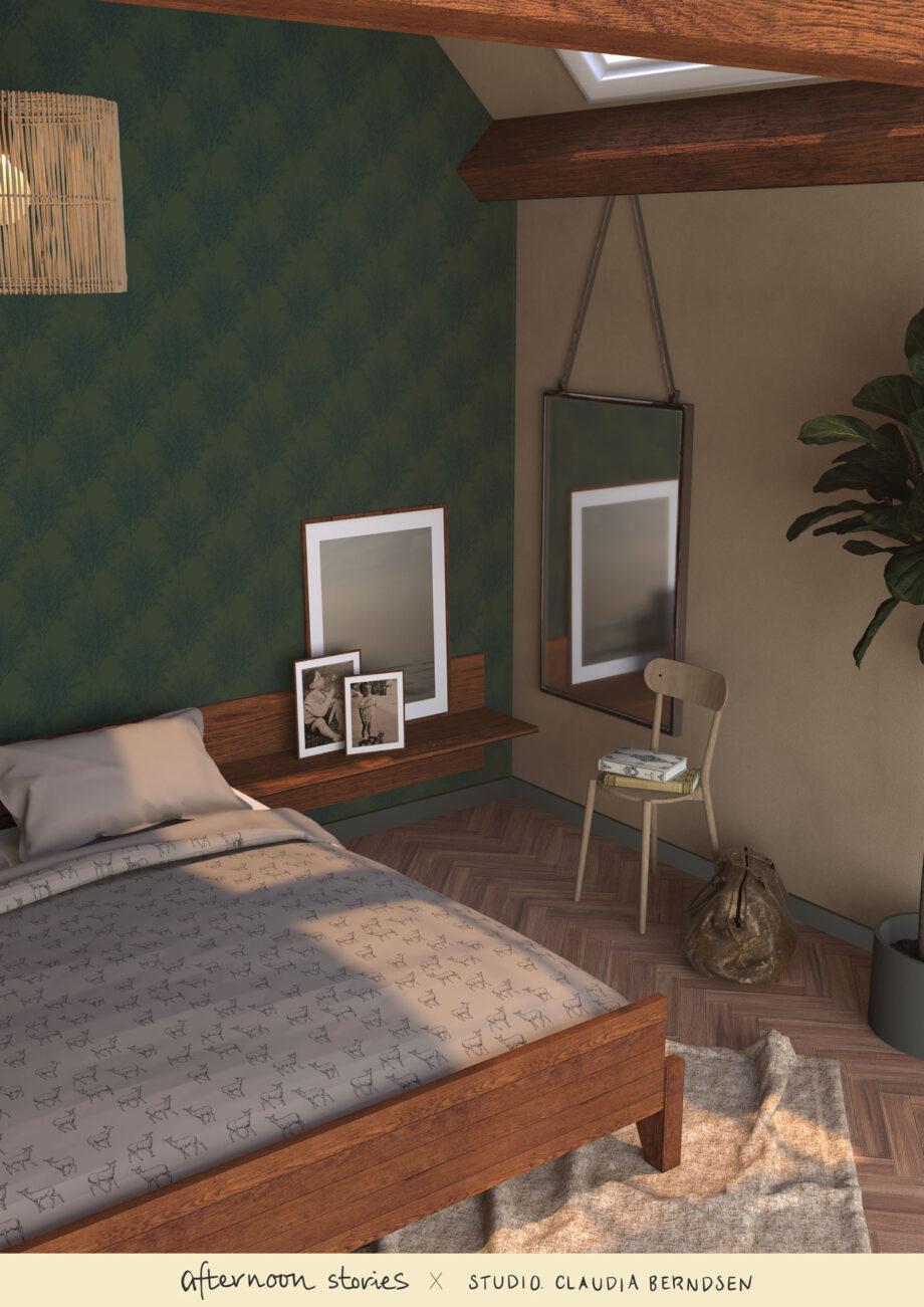 Duurzaam bomen behang in de slaapkamer