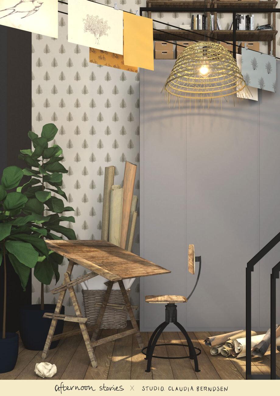 Duurzaam dennenboom behang in atelier