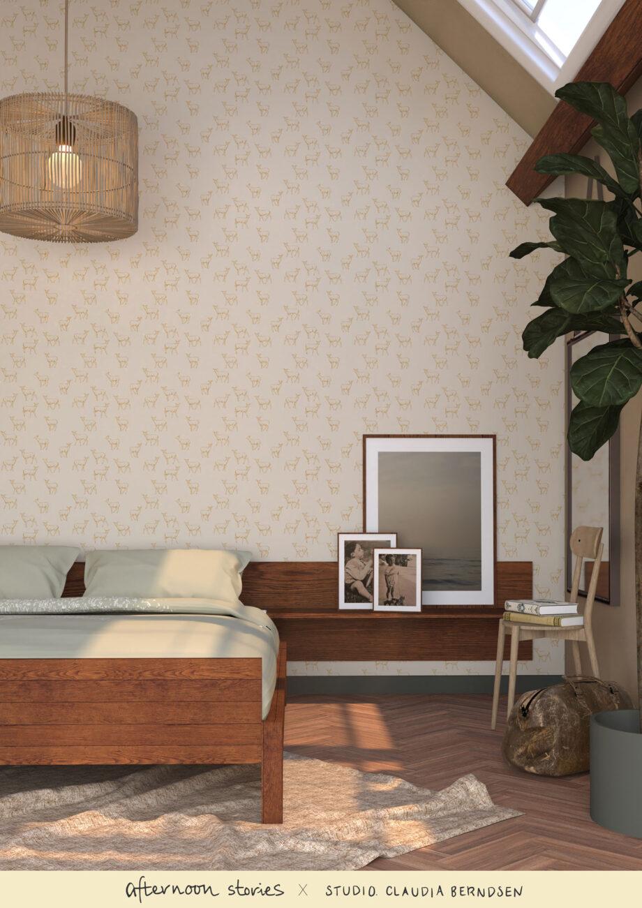 Duurzaam hertjes behang in de slaapkamer
