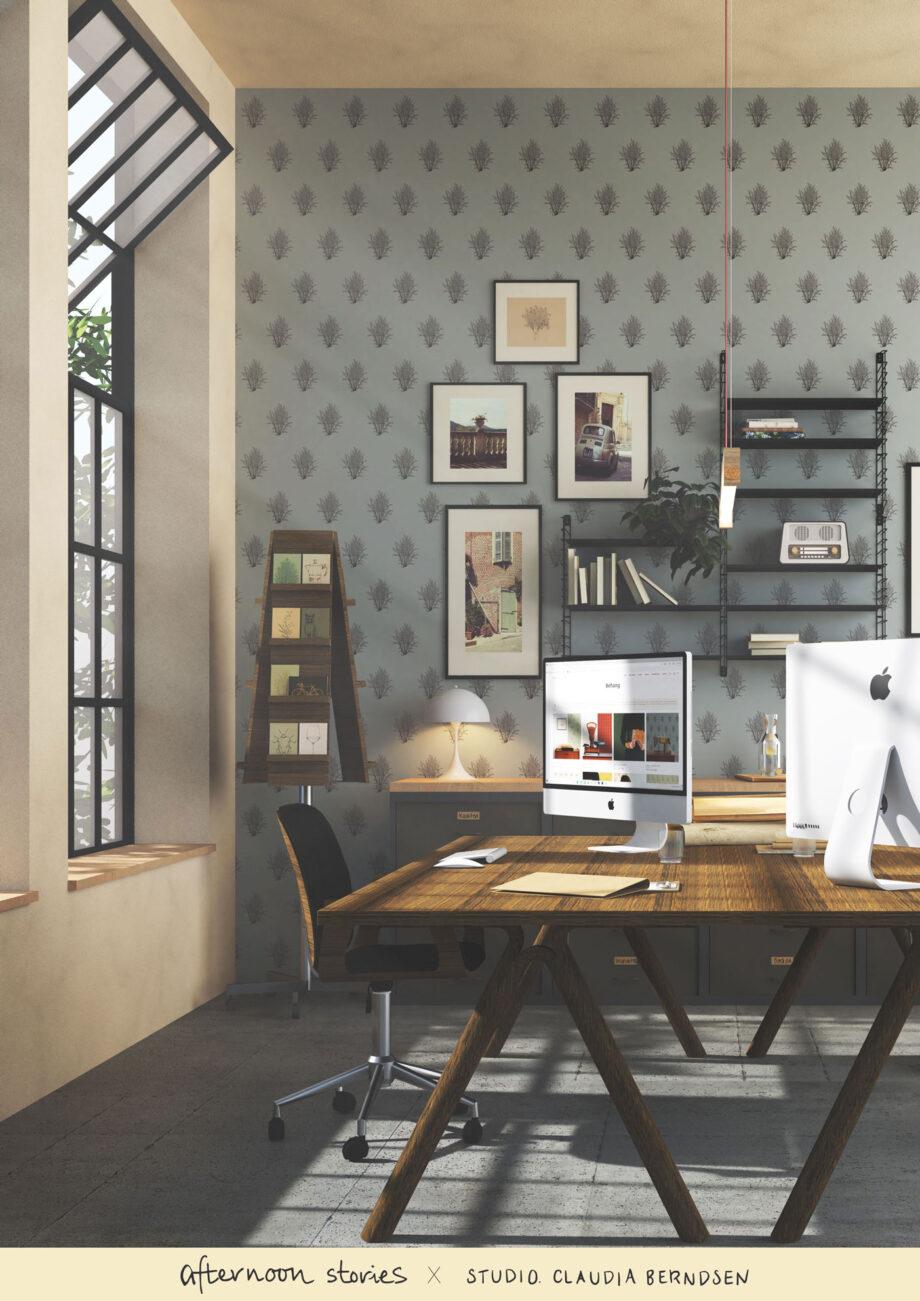 duurzaam hazelnoot bomen behang in kantoor