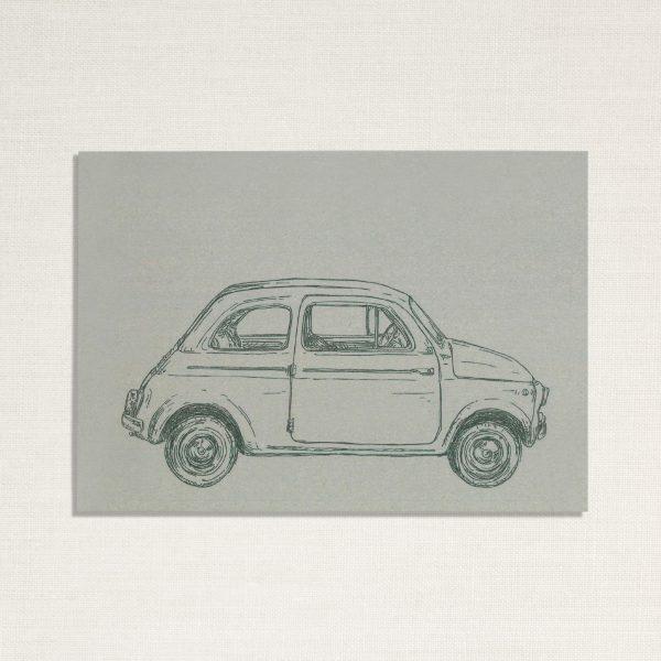 duurzame kaart met een fiat 500 auto op lichtblauwe achtergrond