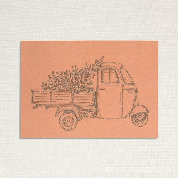 duurzame kaart met een Ape busje op roze achtergrond