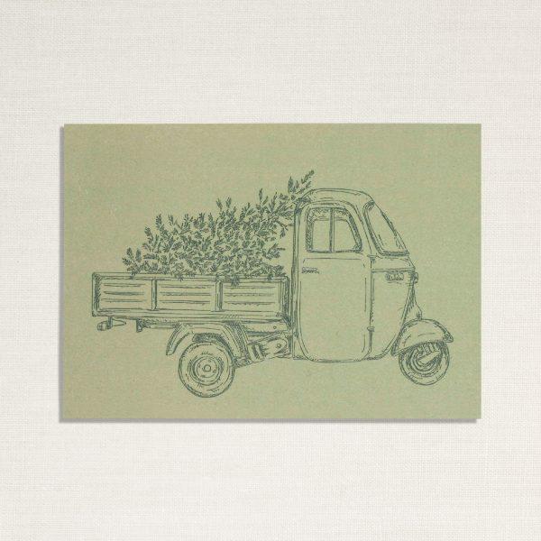 duurzame kaart met een Ape busje op groene achtergrond