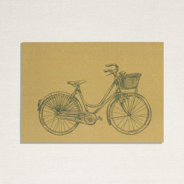 duurzame kaart met een dames fiets op geelachtige achtergrond