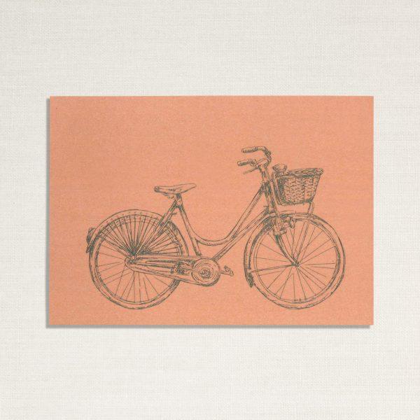 duurzame kaart met een dames fiets op roze achtergrond