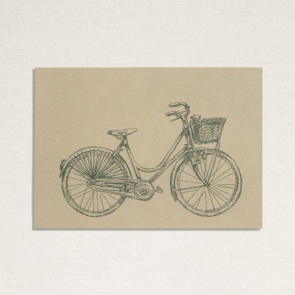 duurzame kaart met een dames fiets op lichtgroene achtergrond