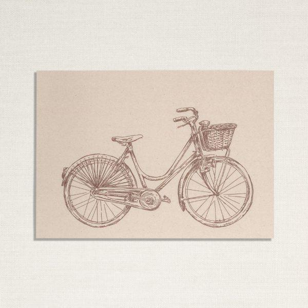 duurzame kaart met een dames fiets op lichte achtergrond