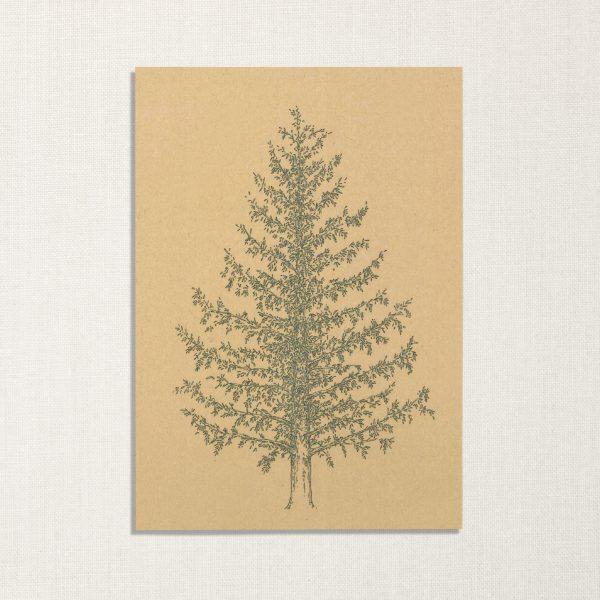 duurzame kaart met dennenboom op geelachtige achtergrond