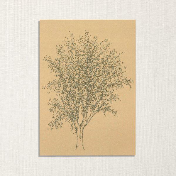 duurzame kaart met es boom op geelachtige achtergrond