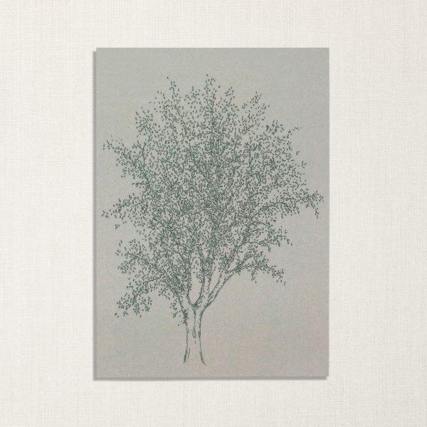 duurzame kaart met es boom op lichtblauwe achtergrond