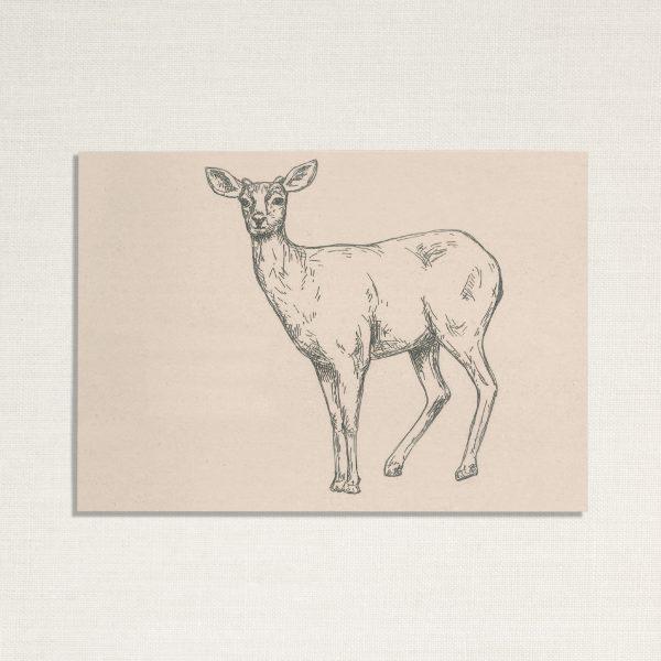 duurzame kaart met een hertje op lichte achtergrond
