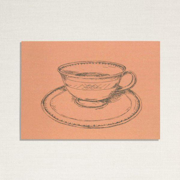 duurzame kaart met een kopje koffie op roze achtergrond