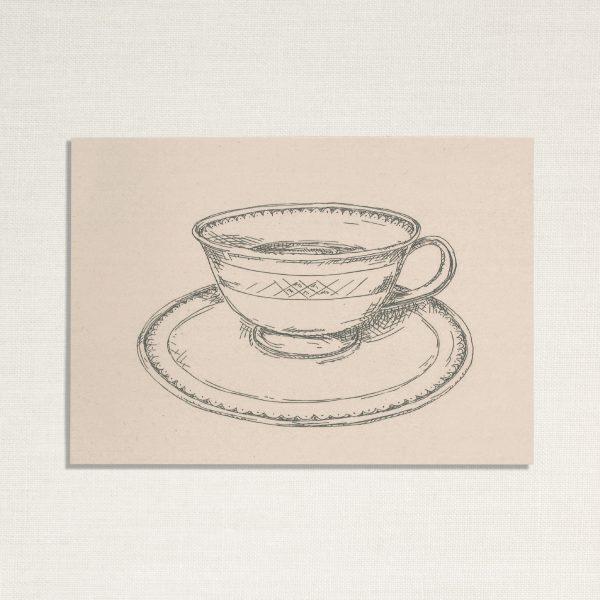 duurzame kaart met een kopje koffie op lichte achtergrond