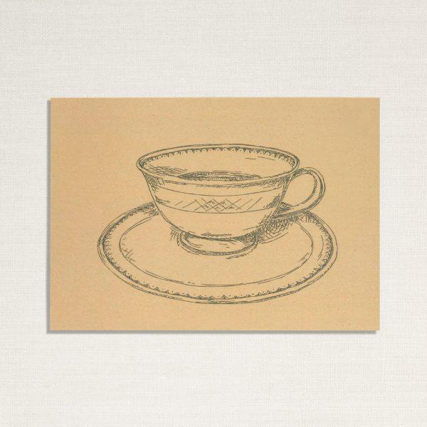duurzame kaart met een kopje koffie op geelachtige achtergrond