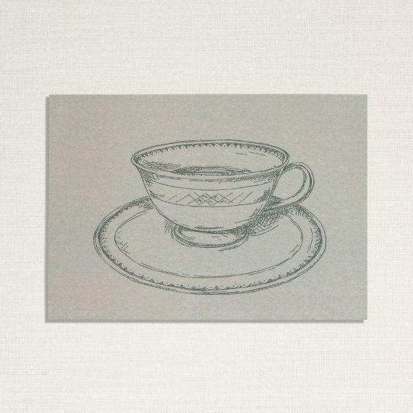 duurzame kaart met een kopje koffie op blauwe achtergrond