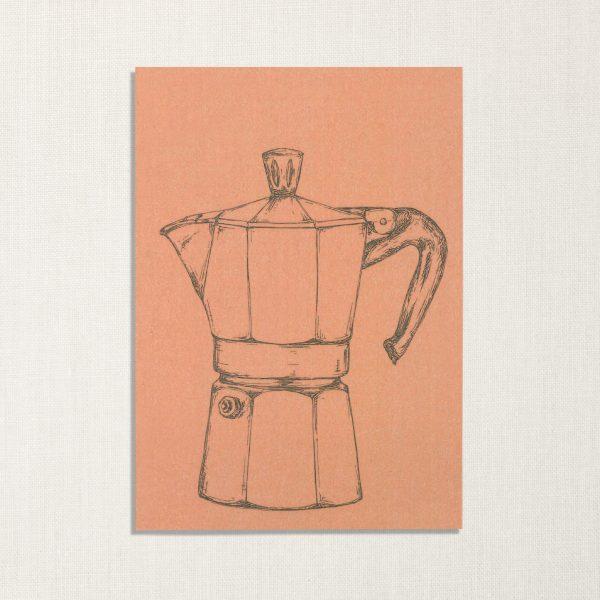 duurzame kaart met moka koffiepotje op roze achtergrond