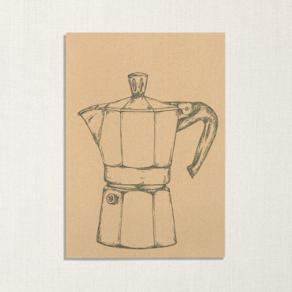 duurzame kaart met moka koffiepotje op geelachtige achtergrond