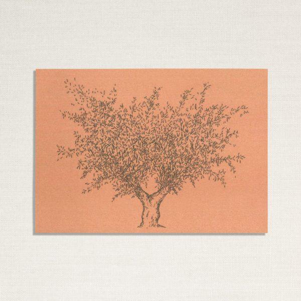 duurzame kaart met een olijf boom op roze achtergrond