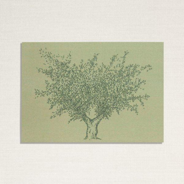 duurzame kaart met een olijf boom op groene achtergrond