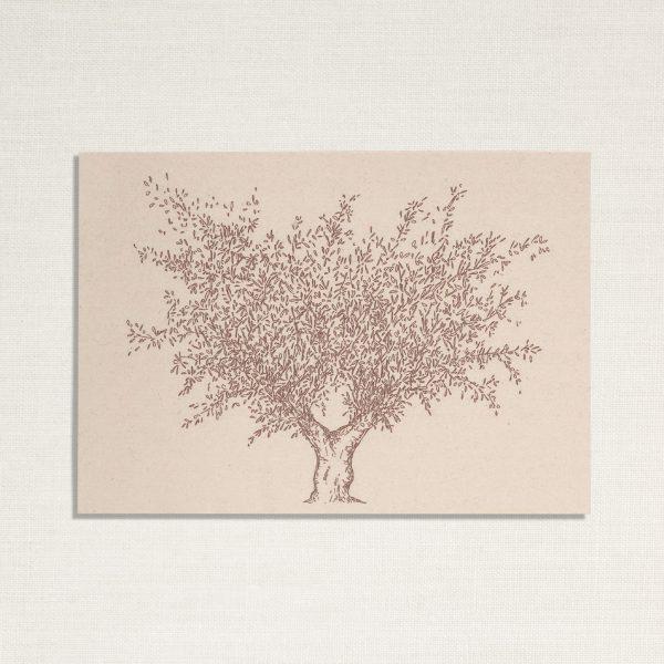 duurzame kaart met een olijf boom op lichte achtergrond