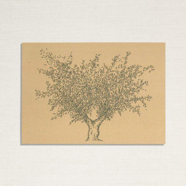 duurzame kaart met een olijf boom op geelachtige achtergrond