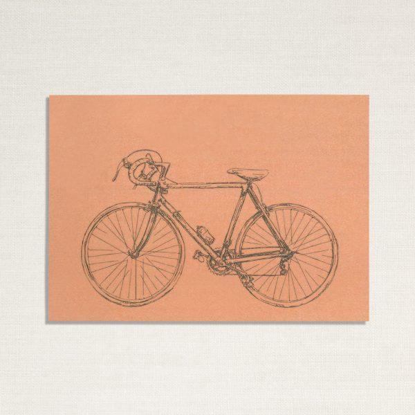 duurzame kaart met een race fiets op roze achtergrond