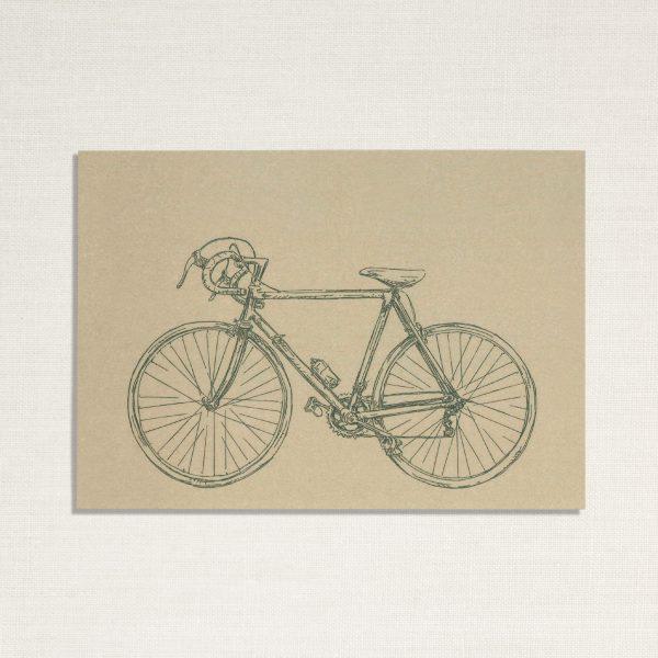 duurzame kaart met een race fiets op lichtgroene achtergrond