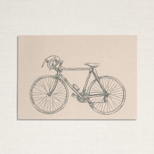 duurzame kaart met een race fiets op lichte achtergrond