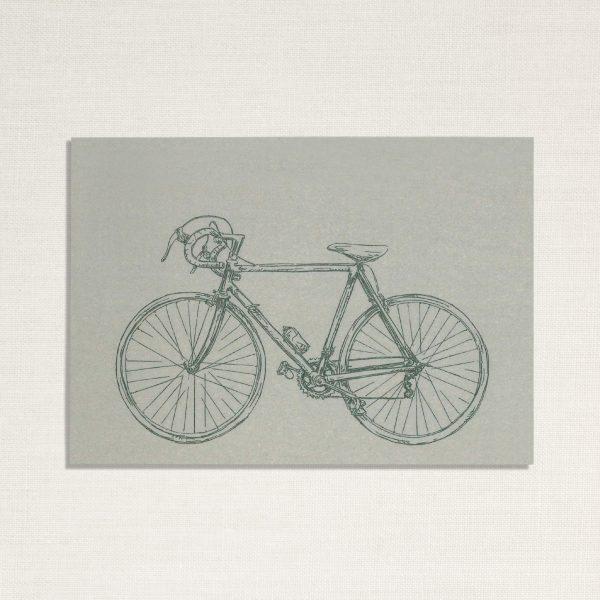 duurzame kaart met een race fiets op lichtblauwe achtergrond