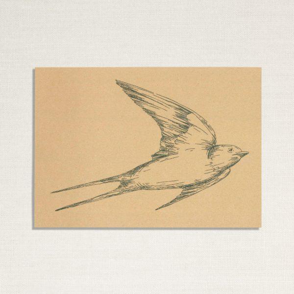 duurzame kaart met een zwaluw vogel op geelachtige achtergrond