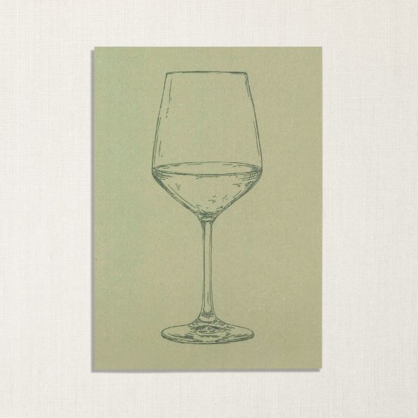 duurzame kaart met wijnglas op lichtgroene achtergrond