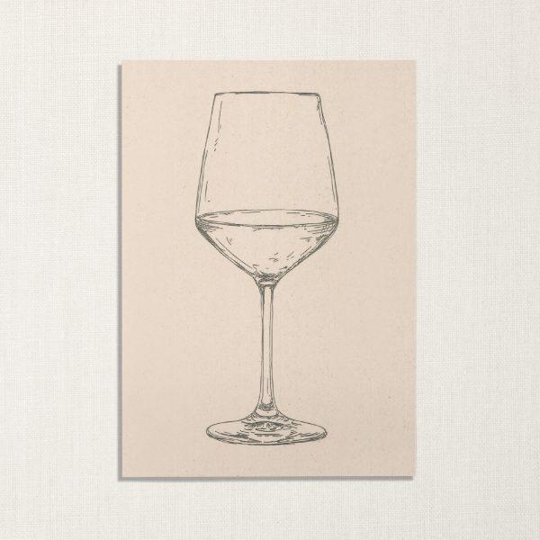 duurzame kaart met wijnglas op lichte achtergrond