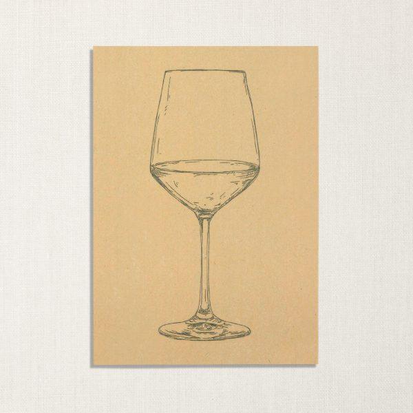duurzame kaart met wijnglas op geelachtige achtergrond