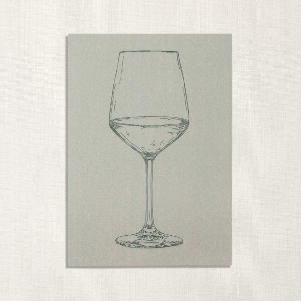 duurzame kaart met wijnglas op lichtblauwe achtergrond