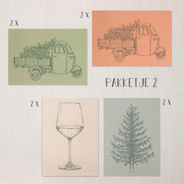 Pakketje feest en kerst kaarten met groene, roze, blauwe en lichte kleuren