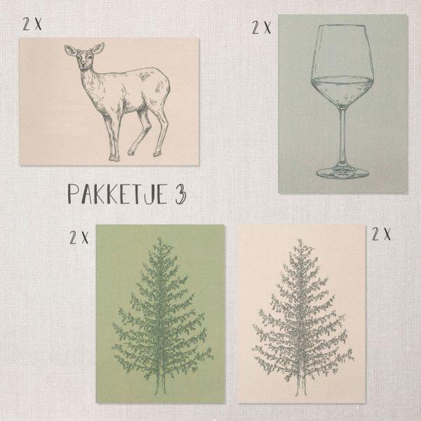 Pakketje feest en kerst kaarten met groene, blauwe en lichte kleuren
