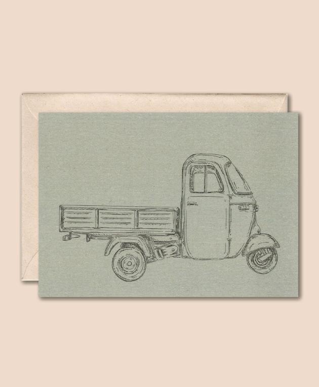 duurzame kaart met Piaggio Ape busje op blauwe achtergrond